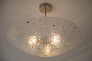 Hanglamp Schaal Gefused glas rode stip