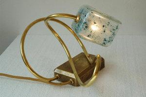 Buro lamp Unica met gefused glas