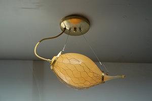 Hanglamp glas in net koper
