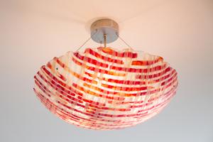 Hanglamp roodglas gefused