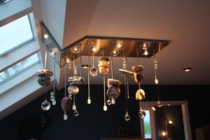Stenen Hanglamp met lenzen en LED