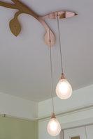 Uitsnede druppel lamp met tak koper